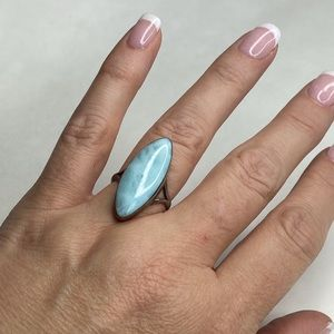 Vintage Sterling Silver Blue Teal Stone Ring 6.5